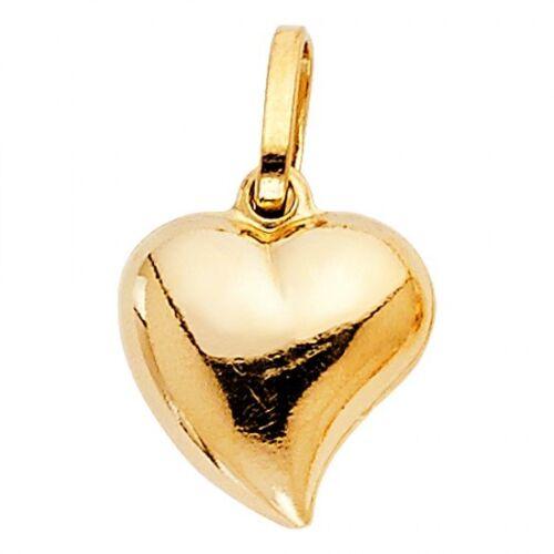 14K Or Jaune Pendentif en forme de cœur gjpt 449