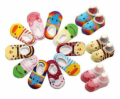 5 Pairs Unisex Baby Kids Toddler Girl Boy Warm Soft Anti-Slip Socks Shoe Slipper