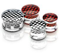 2 X Checkered Center Inlay Clear Acrylic Double Flared Saddle Plug