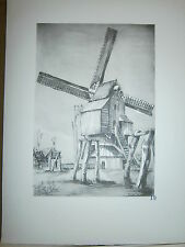 Gravure moulin a vent par P. Valade Nord moulin du Mont à Merriis