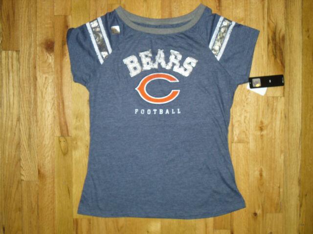 NWT NFL Women's Chicago Bears Short-Sleeve Blue Football Top Sz Large