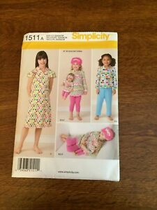 Simplicity-1511-Size-3-8-Girls-Leggings-Pants-Dress-New-Uncut-amp-18-034-doll-size