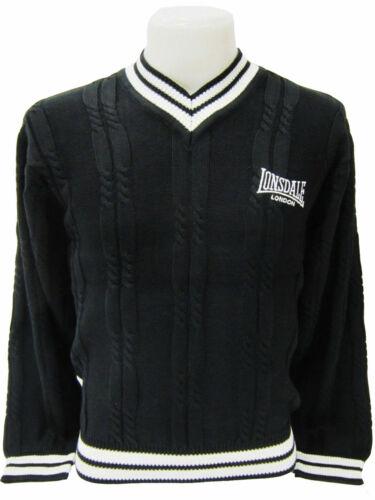 LONSDALE MAGLIONE Lavorazione a Maglia Pullover a maglia lavorazione a trecce nero//bianco 5050