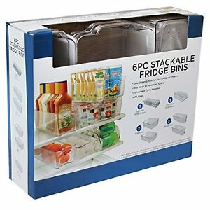 Refrigerator Freezer Stackable Clear Storage Organizer Bins 6 Piece
