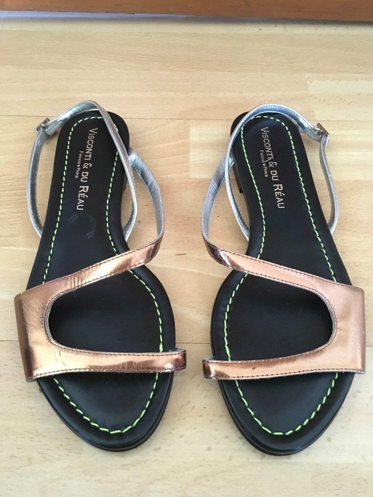 Visconti & Du Réau Copper Silver Gold Strap Flat Sandales Schuhes Größe EU 37 UK 4