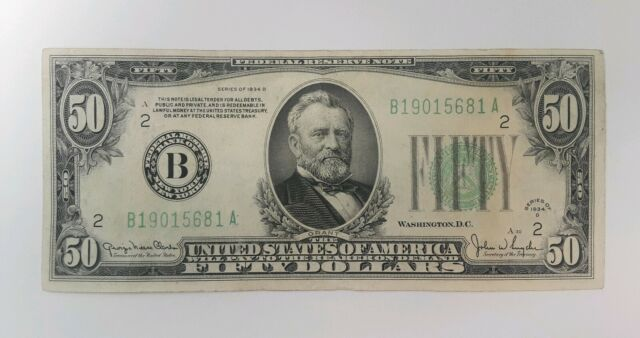 1934 D $50 FIFTY DOLLARS *STAR* FEDERAL RESERVE NOTE CLEVELAND, OHVERY NICE
