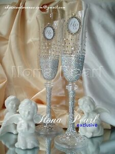 f597714943f7 Image is loading Swarovski-Crystal-Bling-Sparkly-Personalized-Wedding- Champagne-Glasses-