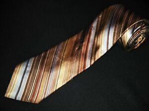 IKE-Behar-Tie-Gold-Stripe-Satin-Luxury-Designer-100-Silk-New-York-Necktie-Mens