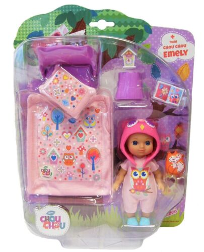 Zapf Creation 920305 Doll Emely Mini Chou Chou with Bed Set to play and collect