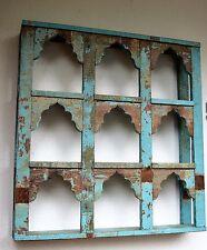 Vintage Indian Display Shelf Unit Antique Teak Turquoise Blue Garden Furniture