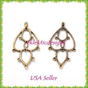 6pcs antique brass bronze flower drop chandelier earring image is loading 6pcs antique brass bronze flower drop chandelier earring mozeypictures Gallery