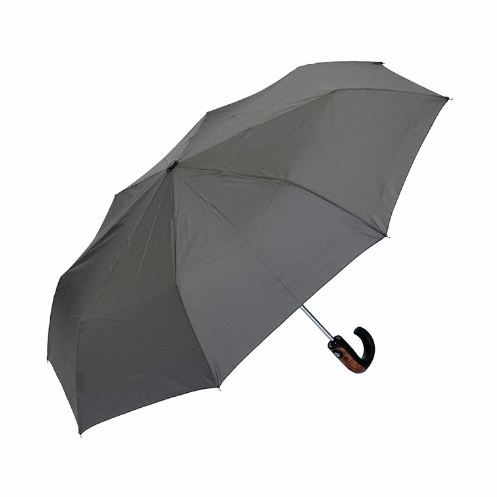 UPF50+ Clifton Auto Open Close Mens Folding Wood Trim Handle Charcoal Umbrella