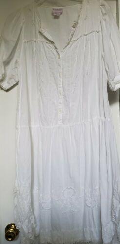 Vintage Women's Medium SAYBURY White Cotton Lace E