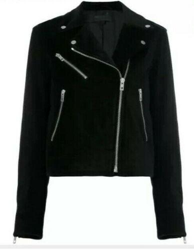 NWT Rag /& Bone Womens Sz XS Mercer Velvet Motorcycle Jacket Black $595