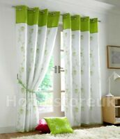 TAHITI LIME WHITE LINED CURTAIN PAIR READY MADE EYELET RING TOP NET VOILE WINDOW