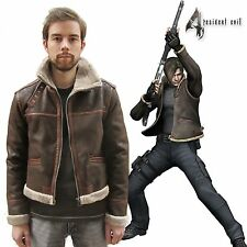 RE4 RESIDENT EVIL 4 LEON KENNEDY'S Faux Pleather Fur Brown Jacket S-4XL