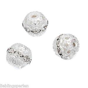 20-Metallperlen-Rondelle-Perlen-Ball-Beads-Weiss-Strass-9x10mm