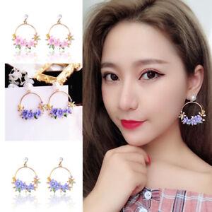 Korean-Women-Crystal-Pearl-Flower-Ear-Stud-Dangle-Drop-Fashion-Earrings-Jewelry