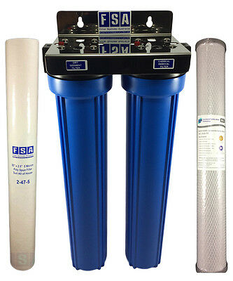 """Whole House Water Filter System Silver Carbon 20"""" x 2.5"""" Stainless Steel 1-80SS"""