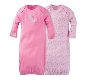 Gerber-2-PK-Girl-Lap-Shoulder-Gowns-Pink-w-Flowers-Size-0-6M-BABY-CLOTHES-GIFT