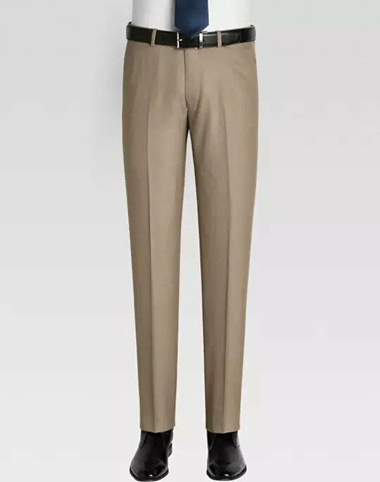 NWT - PRONTO men Men's SLIM FIT Tan DRESS PANTS  - 33 x 32