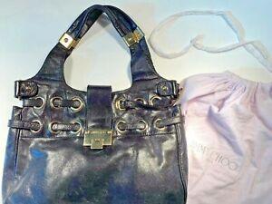 5338af3d6155 Jimmy Choo Black Leather Silver Riki Ramona Shoulder Day Bag Shopper ...