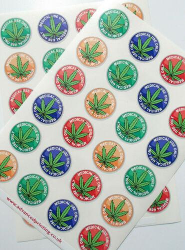 14-02 - CBD ** Uso médico sólo marihuana leaf 48 pegatinas de colores diferentes