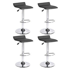 Set-of-4-Counter-Height-Bar-Stools-Leather-Adjustable-Swivel-Pub-Chair-In-Black