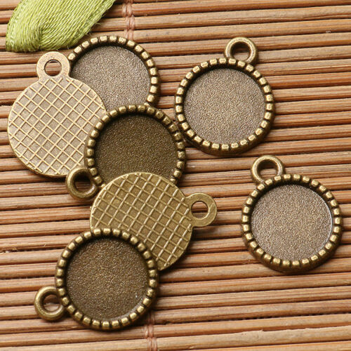 28pcs antiqued bronze color Single-side round  cabochon setting in 10mm EF2950