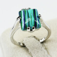 Malachite Gemstone Fashion  Jewelry 925 Silver Men Women Ring Size 6