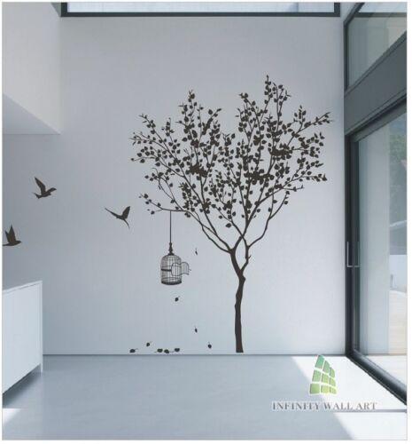 Autocollants muraux arbre fleur nursery kids wall art decal papillon vinyle decor \ P414