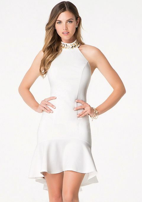 NWT bebe Weiß embellished beaded mockneck ruffle cutout top dress XXS 00 0 sexy