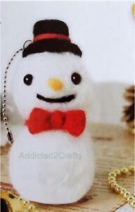 Needle-Felting-Kit-Christmas-Snowman-JAPANESE-Wool-fibre-Needle-eyes-chain