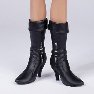 1//6 Scale Female Black Mid-calf Knee Mid Heel Boots for 12/'/' Phicen Hot Doll