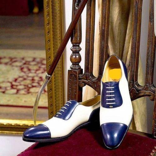 risparmia fino al 70% Mens Handmade Oxford bianca bianca bianca and blu Formal scarpe Leather Sole and Heel scarpe  economico e di alta qualità