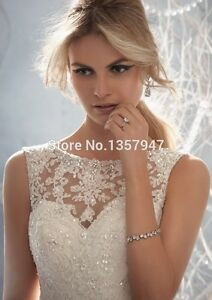 A-line Sheer Neckline Embelished With Crystal Beads Tulle& Lace ...