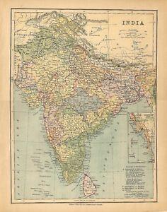 India Cartina Geografica.Carta Geografica Antica India William Collins Sons 1880 Old