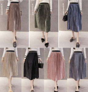 c3a116d5e Image is loading Vintage-Women-Pleated-Metallic-Look-Midi-Shiny-Skirt-