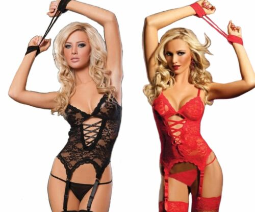 Lace Garter Outfit With Lace Cuffs /& Stockings BDSM Exotic Stripper Dancewear