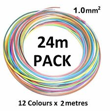 1mm THIN WALL COPPER CORE AUTO CABLE 16.5A - 12 Colours - 24 metres (12 x 2m)