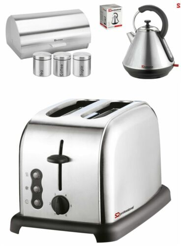 Sq Pro Metallic Range 6pc set  Kettle//Toaster// BreadBin with 3 Canisters