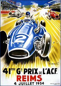 Grand Prix Car Racing 1954 Reims France Vintage Poster Print Retro Style Art
