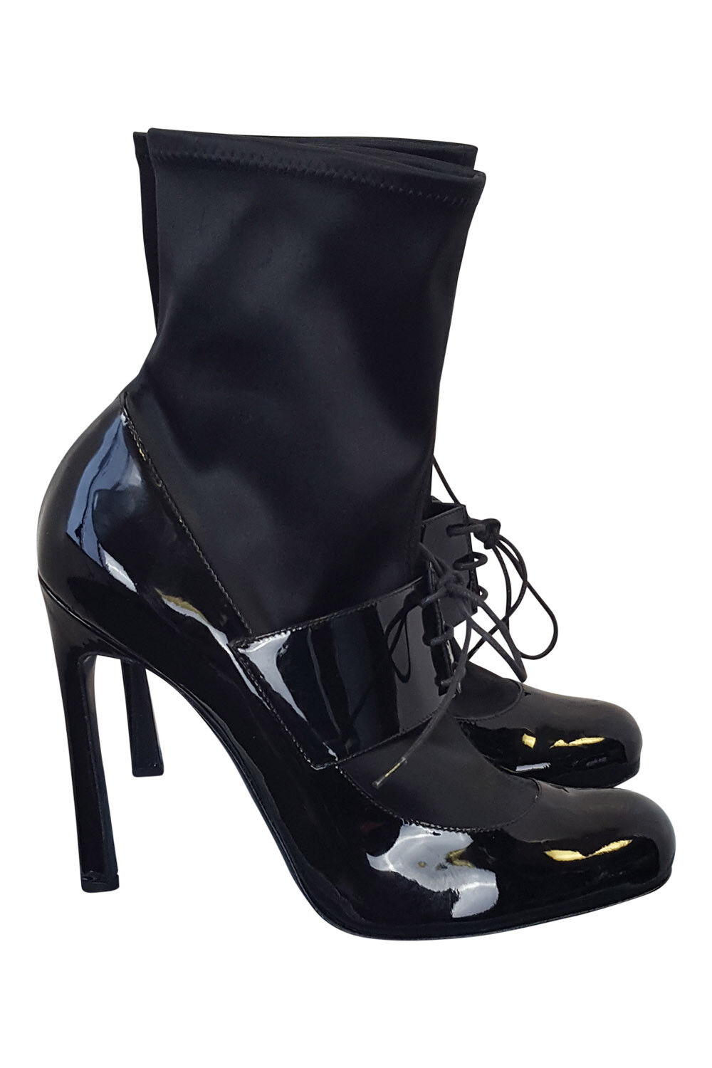 ARMANI BLACK LACE UP ANKLE BOOTS (40)
