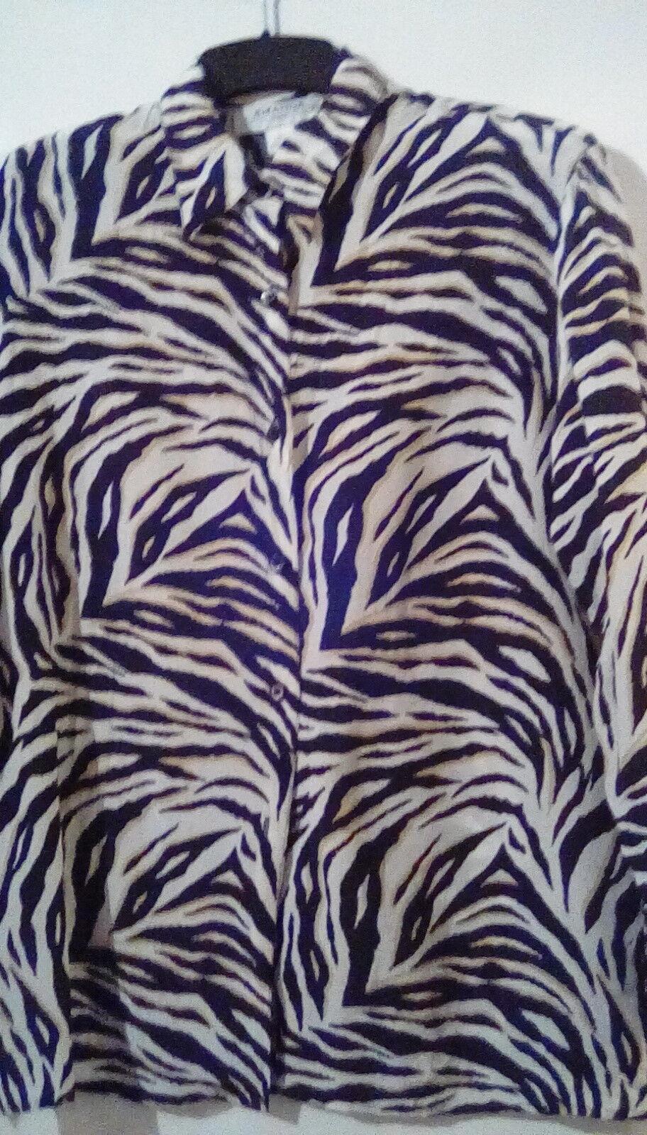 Pure Silk Amanda Cream schwarz Gelb Animal Print Classic Blouse szL. Stunning