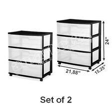 2 Sterilite 2-drawer Plastic Black File Carts | 34209001 | eBay