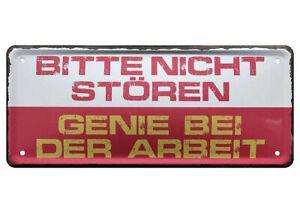 Blechschild Lustige Spruche Deko Schild Bitte Nicht Storen Genie Arbeit 28x12 Ebay
