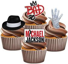 12 x 4 MICHAEL JACKSON MIX DECORAZIONI PER TORTA DECORAZIONI COMMESTIBILE Compleanno Pop band Bad