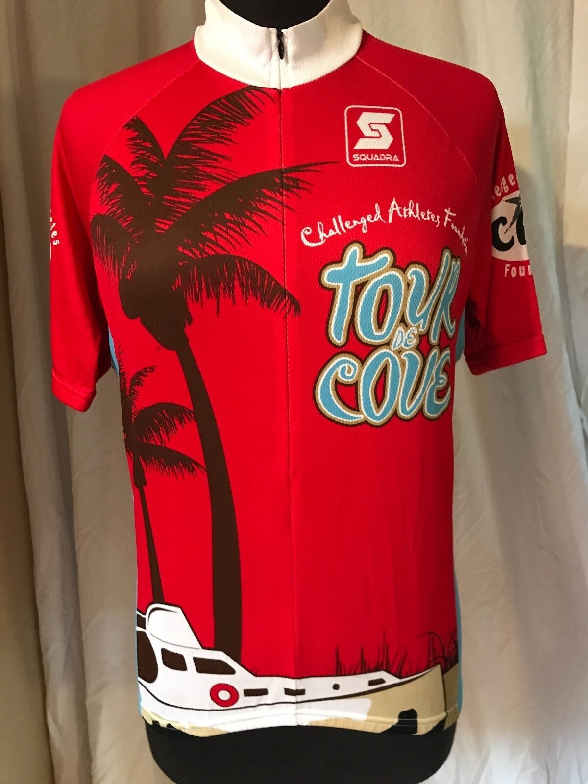 Sqadra Cycling Jersey CAF Challenged Athletes RIDE THE COVE La Jolla Mens Medium