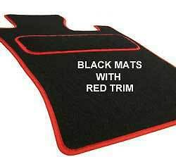 4 CLIPS FITTED CUSTOM MADE Tailored Car Floor Mats BLACK /& Red SEAT LEON 2012