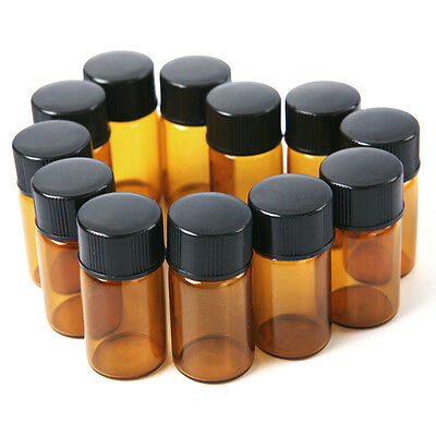 12pcs x 2 ml Amber Glass Essential Oil Bottle Orifice With cap New